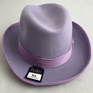 Bailey of Hollywood lavender feather fedora XL